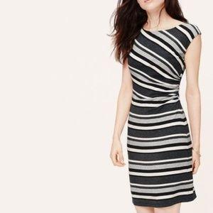 LOFT Gray black & White striped dress